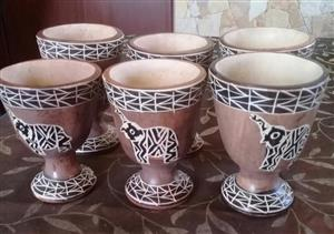 SET OF 6 BLACK AND WHITE ELEPHANT CUPS
