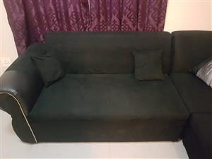 Black upholstery suede corner couch for sale!
