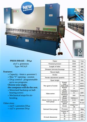 NEW!  PRESS BRAKE 160 Ton x 4000 mm DA41