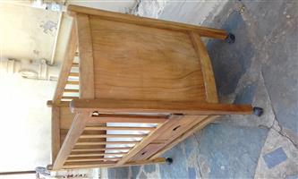 antique wood cot