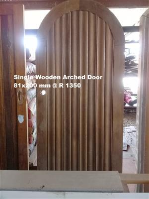Single Wooden Arched Door