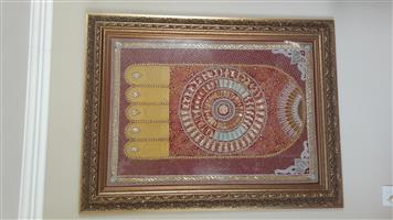 Stunning framed Buddha foot tapestry from Thailand