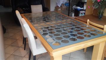 Wood and glass diningroom table