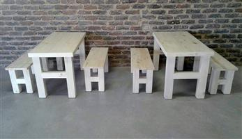 2 Sets solid pine 4 seater kids  table sets. R1500 a set.