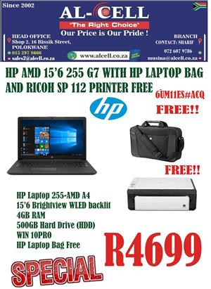 "HP AMD 15.6"" 255 G7 Laptop With HP Laptop Bag And Ricoh SP112 Printer"