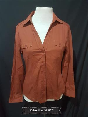 Kelso long sleeve brown button shirt