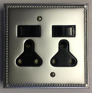 GEORGIAN SATIN CHROME  – DOUBLE SOCKET – R 445