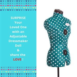 Rani Small Polka Dot Form - Adjustable Dressmaker Doll / Mannequin / Sewing Doll