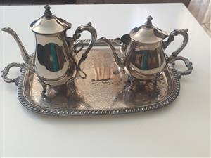 Silver tea set with tray