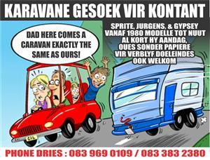 Caravans wanted for cash in Rustenburg and 150km radius