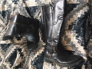 Dark brown leather boots for sale