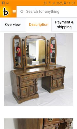 Antique bakker and stryger dressing table