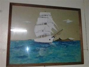 Framed sailing ship painting for sale