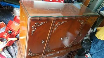 Antique Ball and Claw Cabinet with glass top