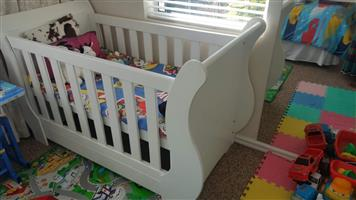 A White 2-in-1 Sleigh Cot Bed for sale