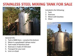 5000 liter mixing tank with capacity for heating