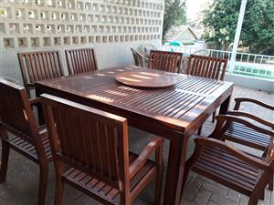 8 seater Rhodesian Teak table and chairs. Perfect