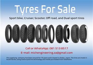 Sport bike, Cruiser, Scooter, Off road and Dual sport tyres