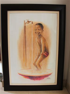Beautiful artwork of Little Boy at the Tap - Jerry Lion Motau Framed Print