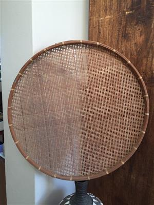 Large Flat wicker weave decor basket/bowl/tray for a table centrepiece or as wall decor