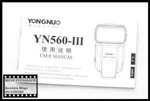 User Manual - YongNuo YN560 III Speedlite