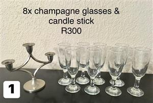 8 Champagne glasses and candle sticks