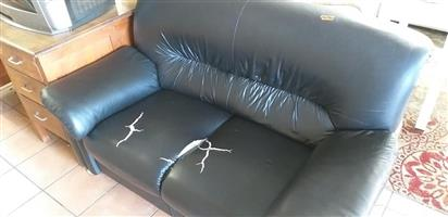 Black Leather 2 seater Couch
