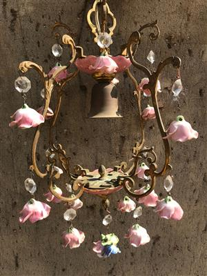Italian brass and porcelain rose chandelier