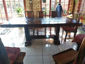 Railway Sleepers Diningroom with 8 chairs