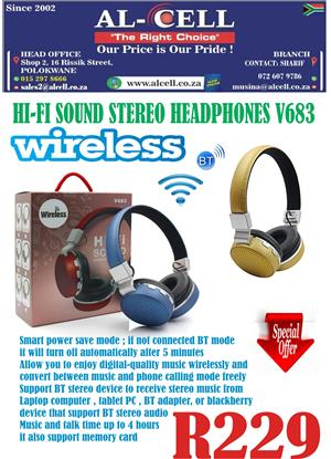 Wireless Hi-Fi Sound Stereo Headphone V683