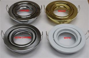 Downlight Fittings: Double Ring with Swivel/Tilt Function in assorted colours.