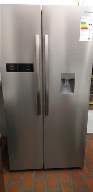 Silver Panasonic double door fridge and freezer with water dispenser