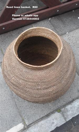 Reed linen basket