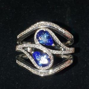 9ct Tanzanite and Diamond composite ring