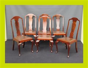 Set of Six Edwardian Mahogany Dining Chairs - SKU 713