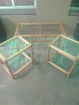 3 Wooden glass top table set for sale