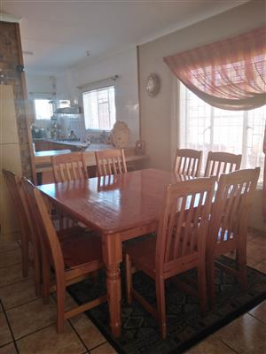 8 seater Solid Oregon Pine wood Dining Room Suite