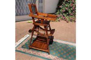 Multifunction antique oak baby chair