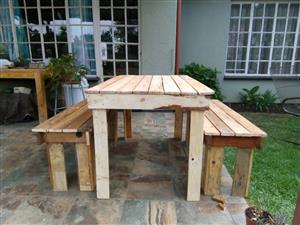 Wooden table 4 to 6 seater with benches