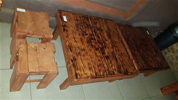 Mixed wood coffee tables and side tables