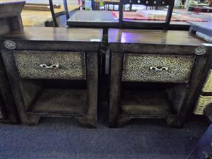 2x Wooden Pedestals with Drawer