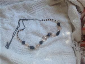 Black,white and gold bead necklace