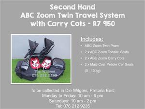 Second Hand ABC Zoom Twin Travel System with Carry Cots