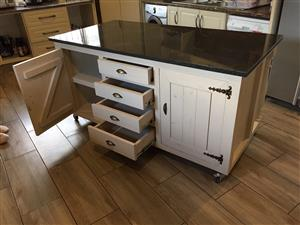 Kitchen Island Cottage Elegant series 1800 with drawers and doors - Stained
