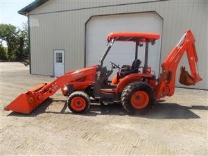 Readu for work is this Awesome L45 TLB Tractor with all its attachments and implements available
