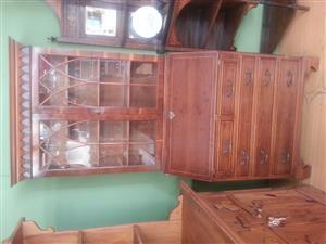 Antique Mahogany Bureau Bookcase Display Cabinet