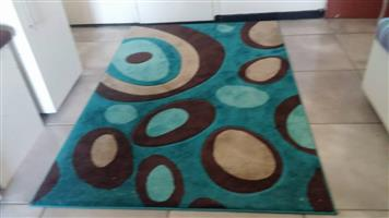 Blue and brown circle pattern suede carpet