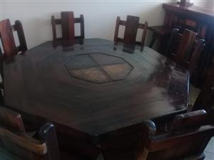 Hand Crafted Rhodesian Teak Dining Room Suite for sale.