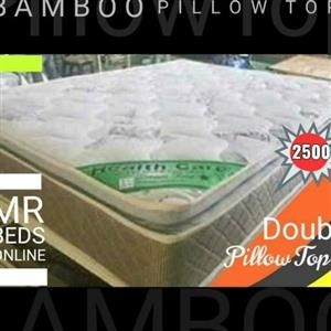 DOUBLE BED PILLOW TOP BAMBOO BED