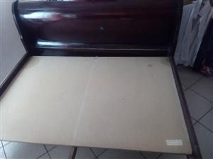 Queen size bed solid wood slay style for sale.